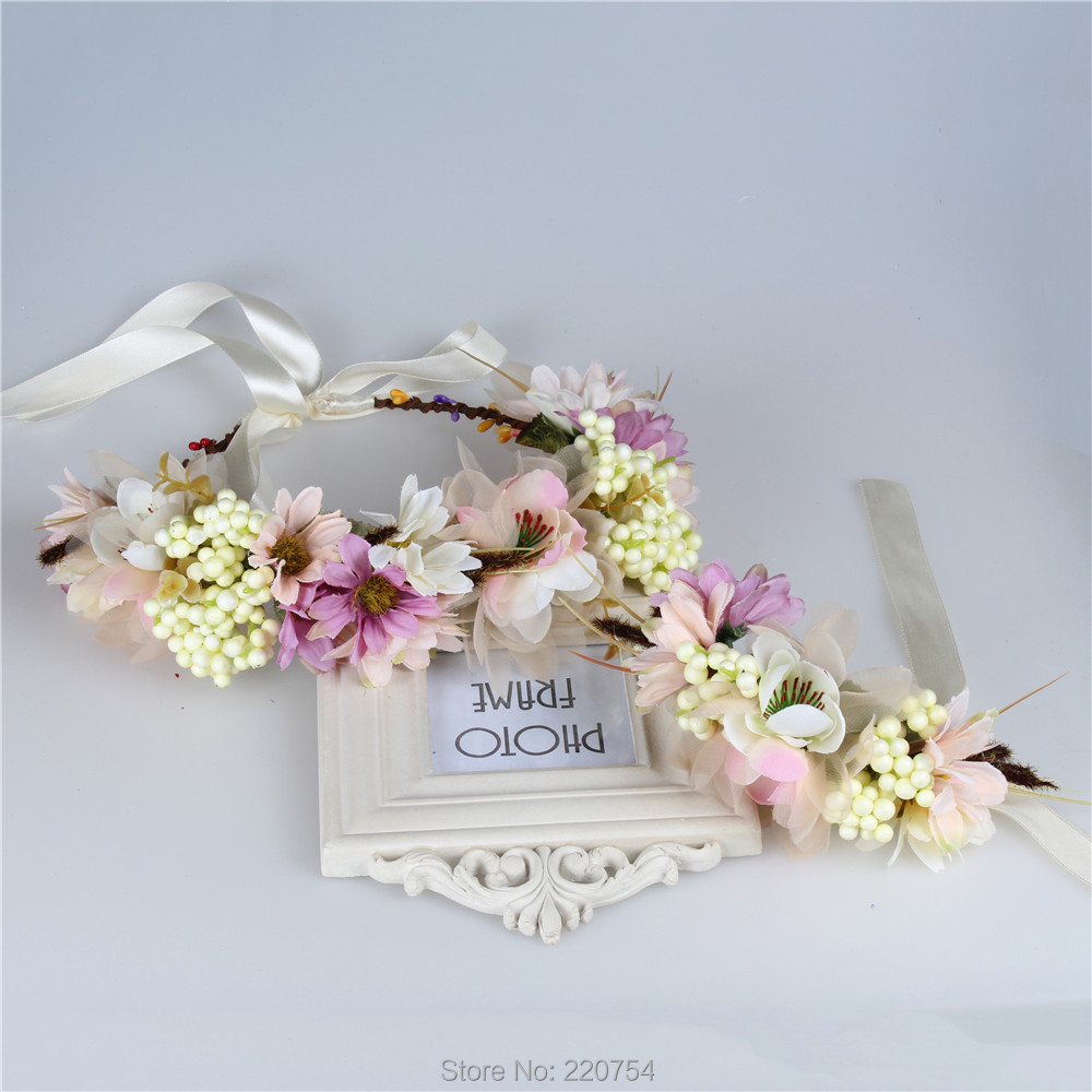 2pc set Women Wedding Rose Flower Wreath headband and wrist Kids Party flower crown and Bracelet