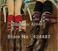 New 2016 Knitted Colorful Plaid Autumn Winter Rabbit Fur Leg Warmers For Women Long Gaiters Fashion