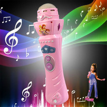 TS  New Wireless Girls boys LED Microphone Mic Karaoke Singing Kids Funny Gift Music Toy Pink AUG 25(China)
