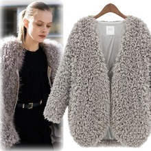 2016 spring and autumn and winter fashion European style warm wool cardigan coat lamb circle in the long grass leather coat