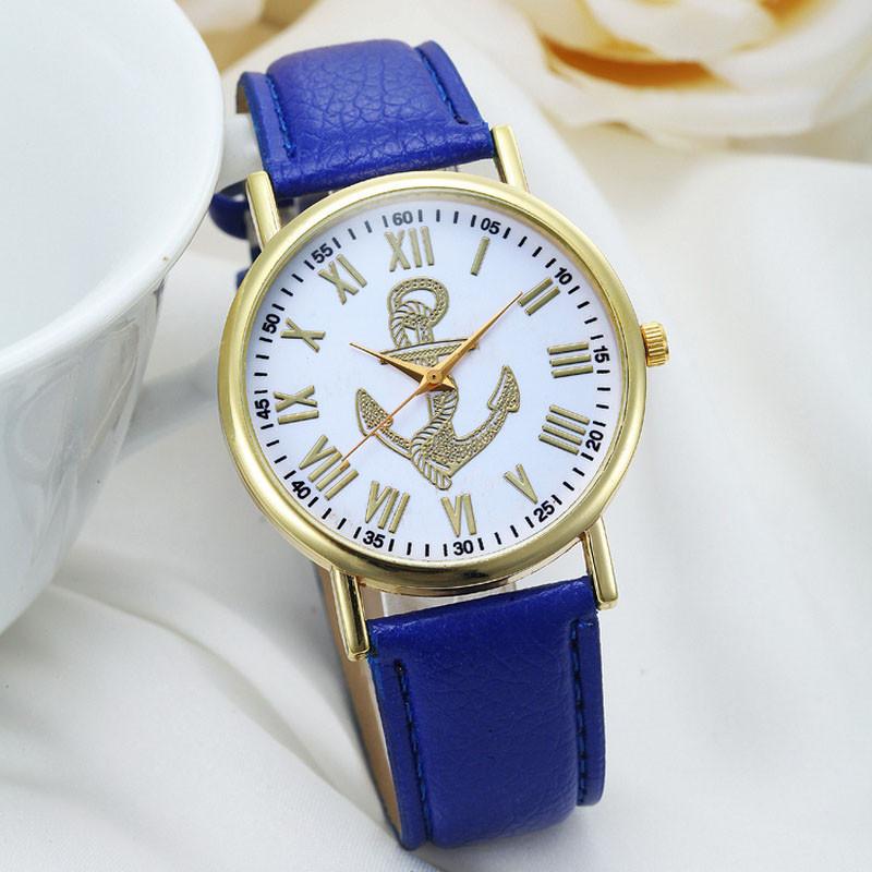 Roman Numerals Boat Anchor Faux Leather 2016 Wrist Relojes Mujer Dress Relogio Feminino Hour Quartz Motre Femme Luxe<br><br>Aliexpress