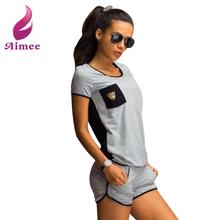 2 Piece Set 2016 Summer Women Set Crop Top + Shorts Set Sport Shirt Back Hollow Out Sexy Women Suits LJ3557L(China (Mainland))