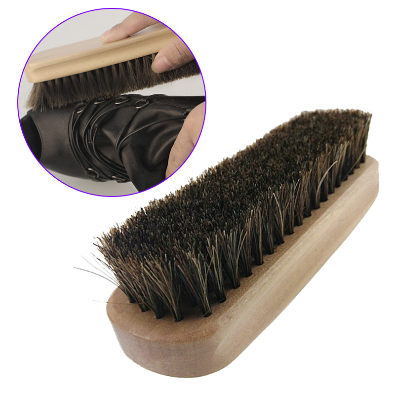 Professional Wooden Handle Shoes Shine Brush Polish Bristle Horse Hair Buffing Brush(China (Mainland))