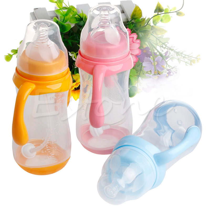 Wide Mouth Baby Cup Feeding Bottle Trainer Easy Grip Plastic Handles Holder New A19028(China (Mainland))