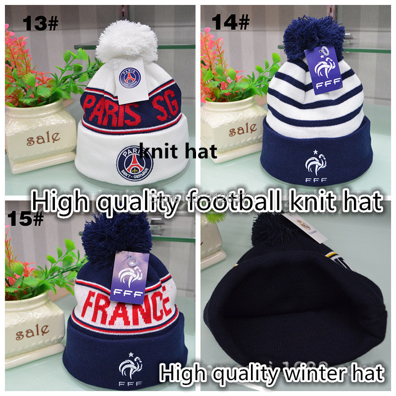 15 team fans gifts football badge winter hats for men and women AC Milan knitted cap France soccer psg beanies(China (Mainland))