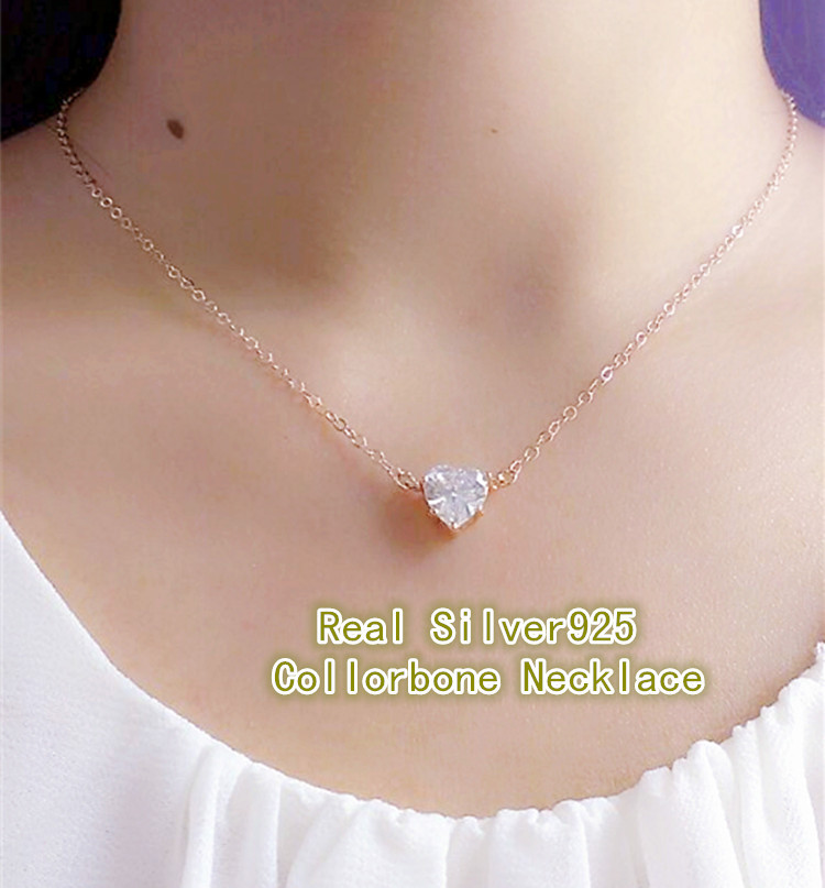 18 Rose/ Gold Heart Necklace Real Pure 925 Sterling Silver pendent necklace with CZ diamond Women Fashion Jewelry(China (Mainland))