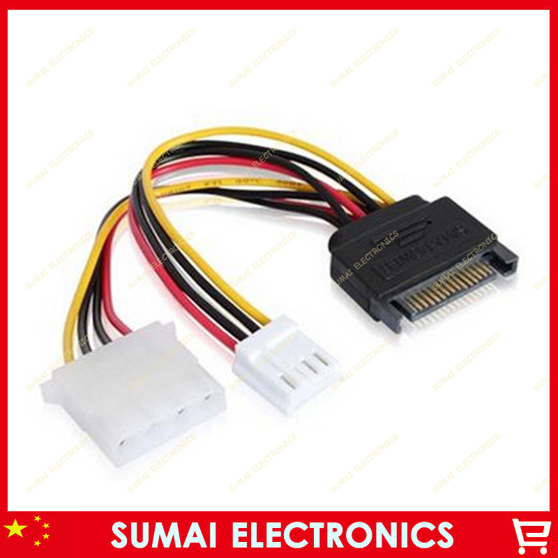 50pcs SATA 15pin male jack turn to big 4pin and a small 4pin power cable sata to IDE and small 4pin Cable  Free shipping<br><br>Aliexpress