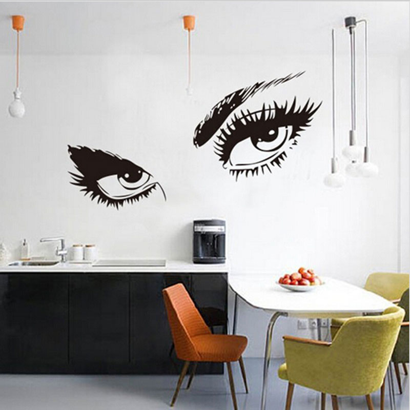 PVC Black Sexy Eye Vinyl Wall Stickers Decal Living Wall Quote Inspiration Room Wall Papers Cool Decorative Accessories(China (Mainland))