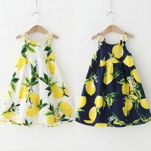 2016 New Girls Dresses Lemon Flower Kids Summer Dresses Children Clothes Strap Cotton Print Baby Girls Lemon Dress