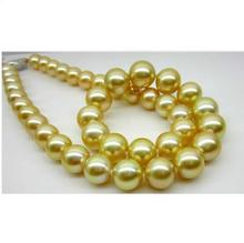 elegant 11-12mm south sea gold pearl necklace18inch 14K