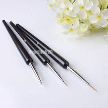 Nail Art Brushes- Professional Nail Art Brushes- Sable Nail Art Brush Pen, Detailer Liner  Set of 3(China (Mainland))