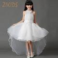 High Quality Luxury Flower Girls Dresses Party Wedding White Organza Trailing Princess Summer Dress Children Kids