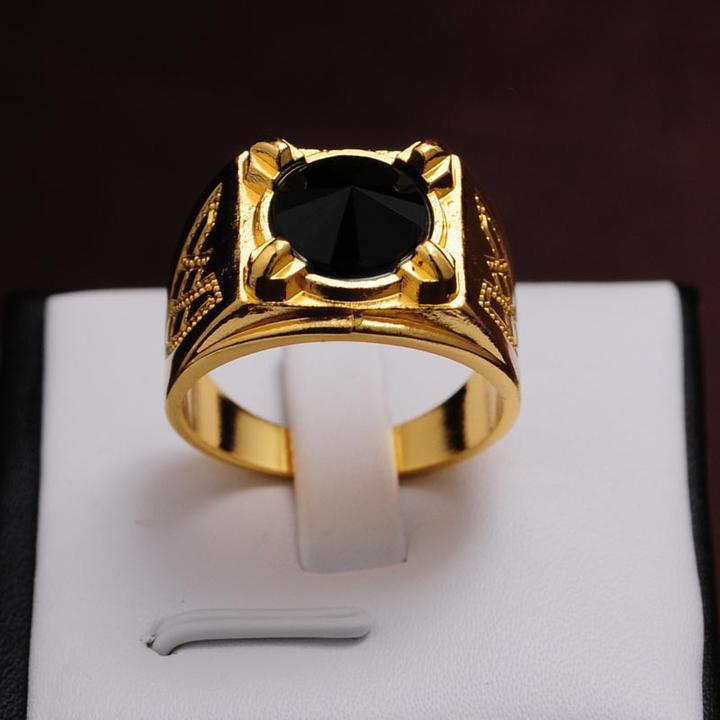 2014 Newest design fashion Jewelry Birthday/Valentine/Party rings 14k Gold plated tapered Black Sapphire men gift Size 9 10 11(China (Mainland))