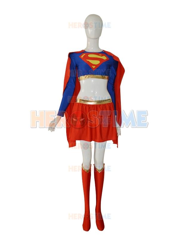 The most popular Royal Blue &amp; Red lycra spandex New Supergirl Female Superhero CostumeОдежда и ак�е��уары<br><br><br>Aliexpress