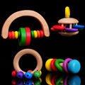 Free delivery children s music toys bell wooden rainbow hand bell a set of four baby