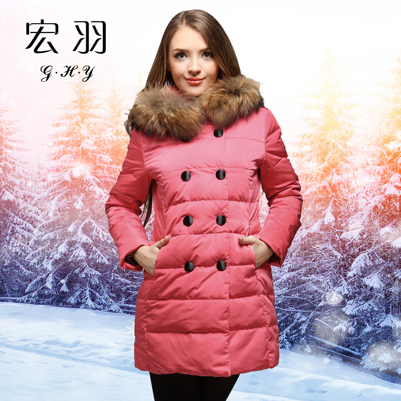 winter female coat white duck super large raccoon fur double breasted medium-long hood warm - Diosa store