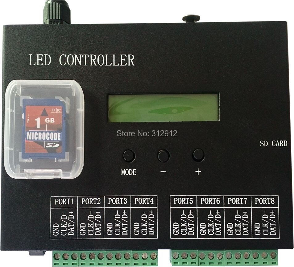 8port off-line/stand-alone/SD card/full color pixel controller;8192pixels controlled;can connect to DMX console<br><br>Aliexpress