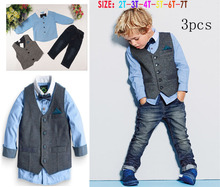 Handsome children's clothing sets gentleman Boy's 4pcs suit set Kids clothes set  long-sleeve shirts+vest+jeans+bow tie t5130 (China (Mainland))