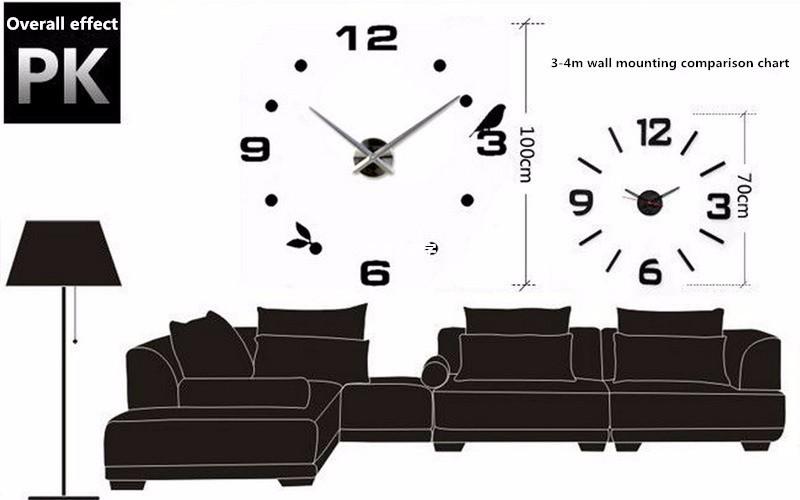 בבית קישוטי זהב שעון קיר בעיצוב מודרני דקורטיביים מעצב מדבקת קיר שעון קיר שעות מתנה ייחודית W003G