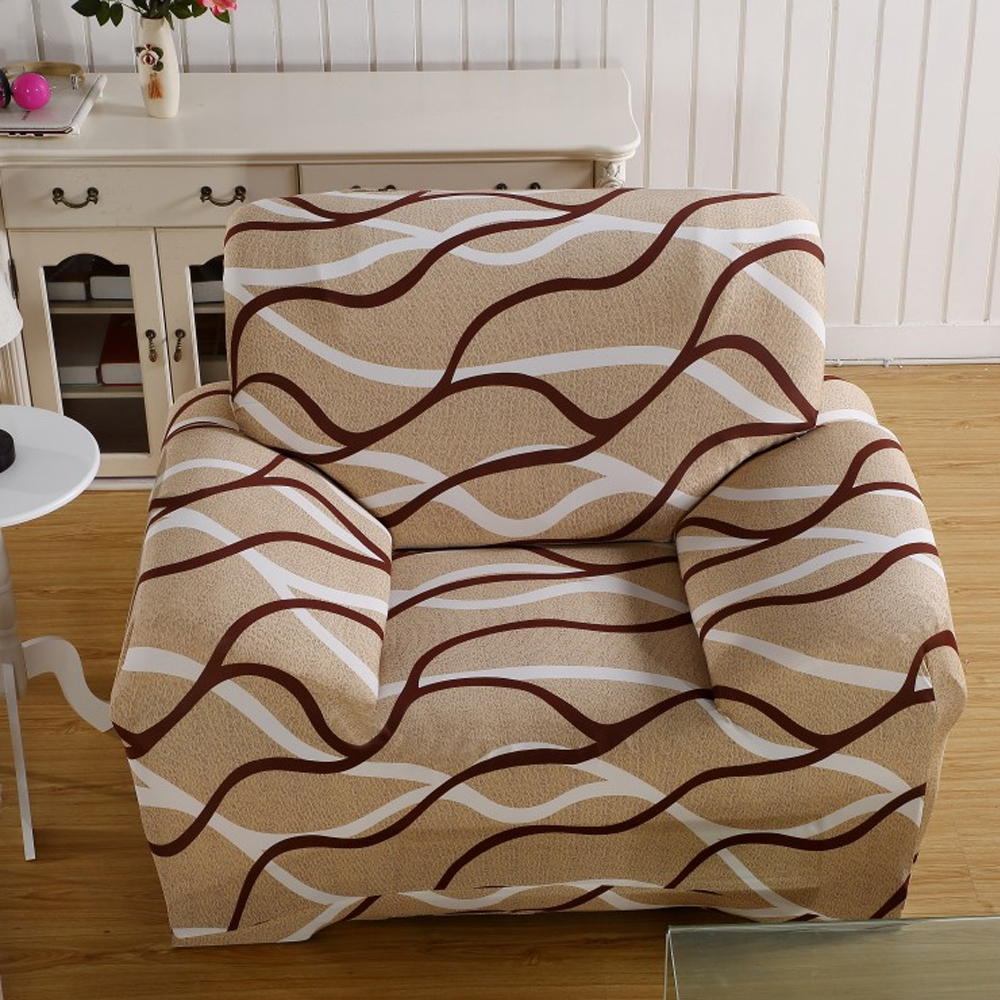 Modern Brown Stripe Stretch Single-Seater Sofa Couch Slipcover Chair Furniture Protector Cover 90-140cm(China (Mainland))