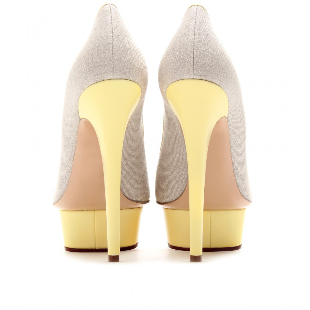 Ivory Fabric Round Toe Women Pumps Platform High Heel Stilettos Custom Mix Color Slip-ons Shoes Women 2016 New Made-to-order