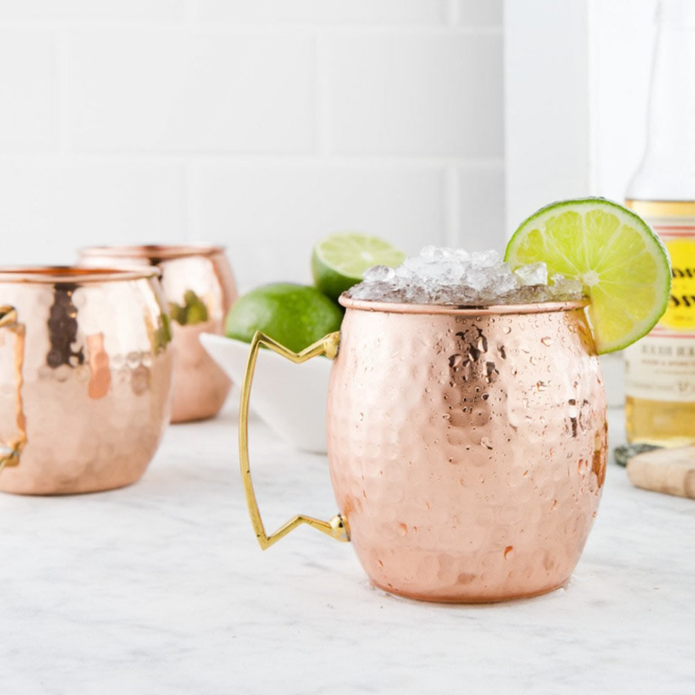 550ml Hot Hammered Copper Plated Stainless Steel Moscow Mule Mug Drum-Type Beer Mug Milk Coffee Cup Drinkware(China (Mainland))