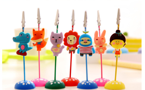 Kawaii animals Memo Clip Wire Note Holder Silicone Metal Card Folders Stand Cute Desktop Photo foto Clip Office Supplies(China (Mainland))