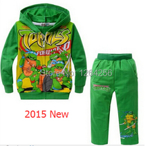 Retail 2015 Hot Boys long-sleeved clothing sets kids cartoon characters Teenage Mutant Ninja Turtles design hooded sweater(China (Mainland))