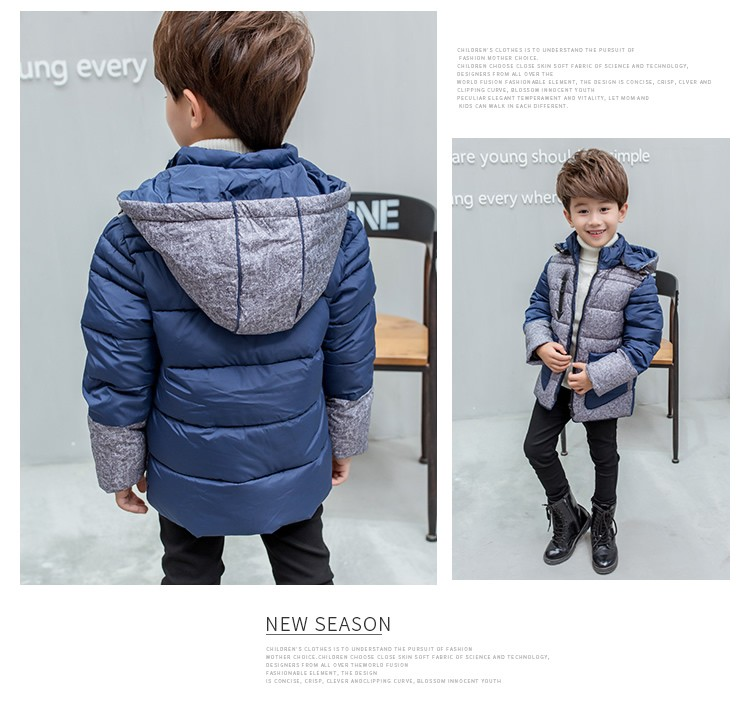 2016 New Winter Warm Children'S Clothing Boys Cotton Padded Down Jacket Thick Warm  Hooded Trench Coat Kids for 3-9T