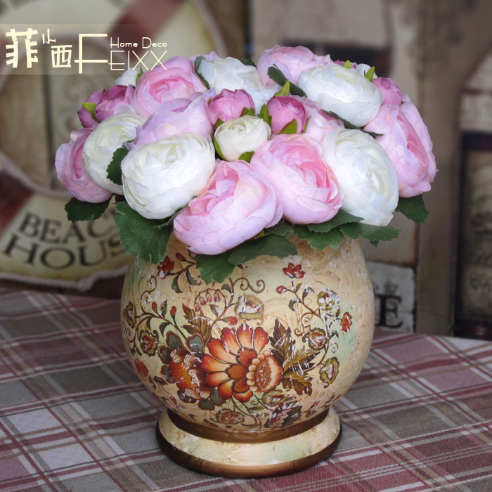 Feixx pink rose royal wind the wave vase overall floral decoration flower(China (Mainland))
