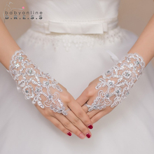 New Arrival Women Ivory Short Fingerless Lace Bridal Gloves White Beaded Wedding Gloves Elegant Wedding Accessories(China (Mainland))