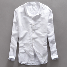 Original Cotton Linen Shirts Men Spring Summer White Social men linen shirts Thin Casual-shirt British Fashion Clothes S-XXL