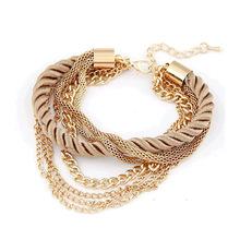 2016 NEW Fashion Design Girl Jewelry Handmade Rope Chain Decoration Bracelet Charm Bangle Wholesale(China (Mainland))