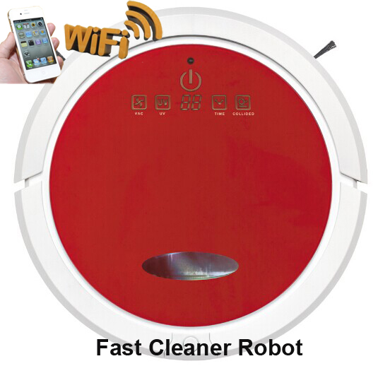 Red Colour Newest WIFI Smartphone App Control Mini Vacuum Cleaner Robot QQ6 With Water Tank (Wet and Dry Mop),Li-ion battery(China (Mainland))