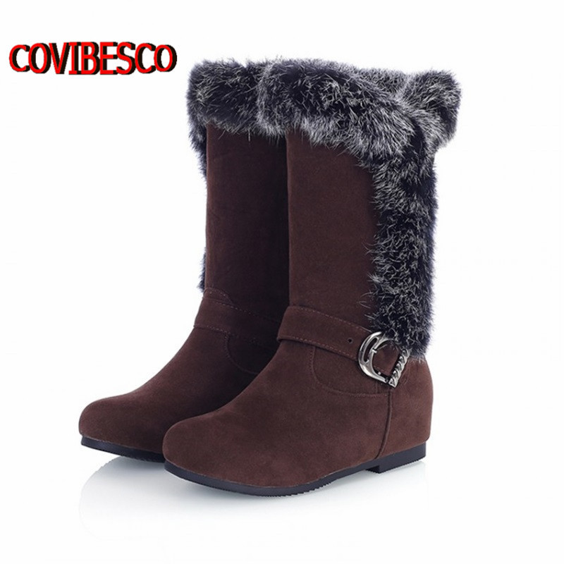 Women buckle wedges high heeled Snow Boots australia calf knee high boots motorcycle women snow shoes snow boots free shipping(China (Mainland))