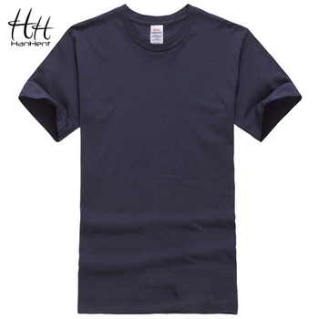HanHent Cotton Men T-shirts Classical 2016 Short Sleeve O-neck Solid Color Loose Basic Tshirt Casual Fitness Men T shirts TA0001