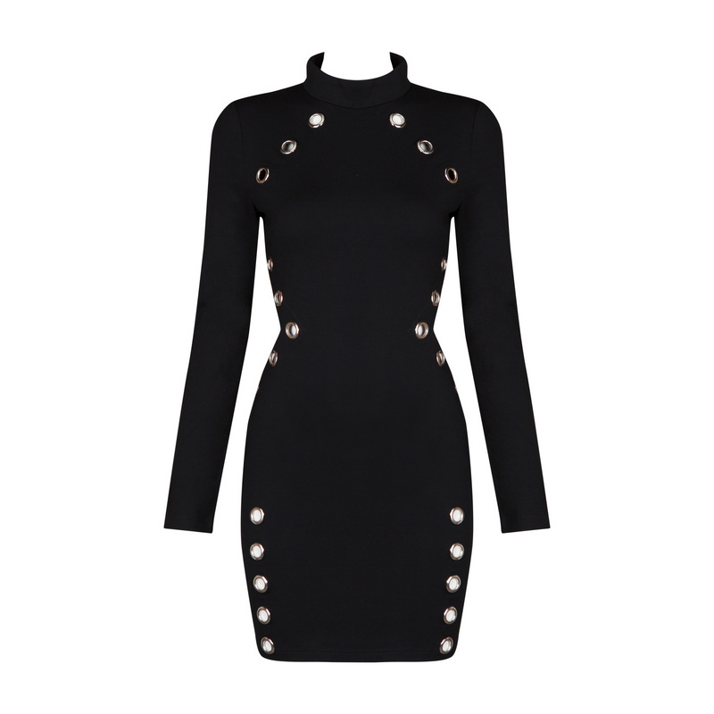 Mini Dress Long Sleeve Sexy Night Club New Arrival 2017 Women Side Cut Out Bodycon Dress Mini