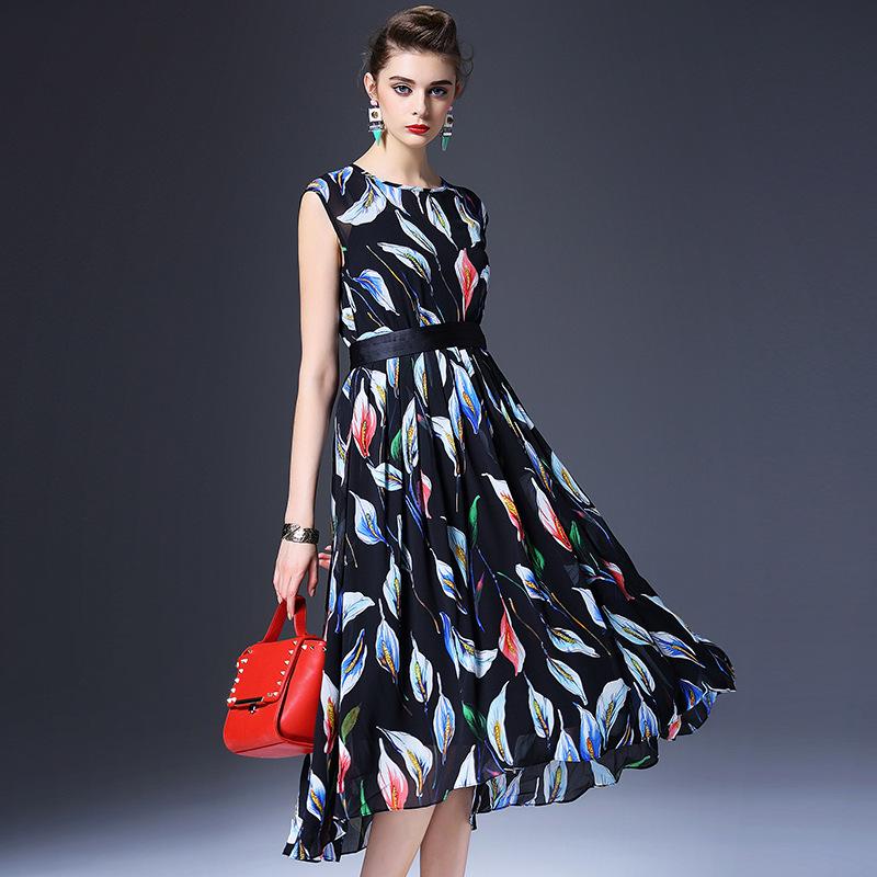 Здесь можно купить   spring and summer after the new European stand back zipper silk printing bag sleeve dress Shenzhen women