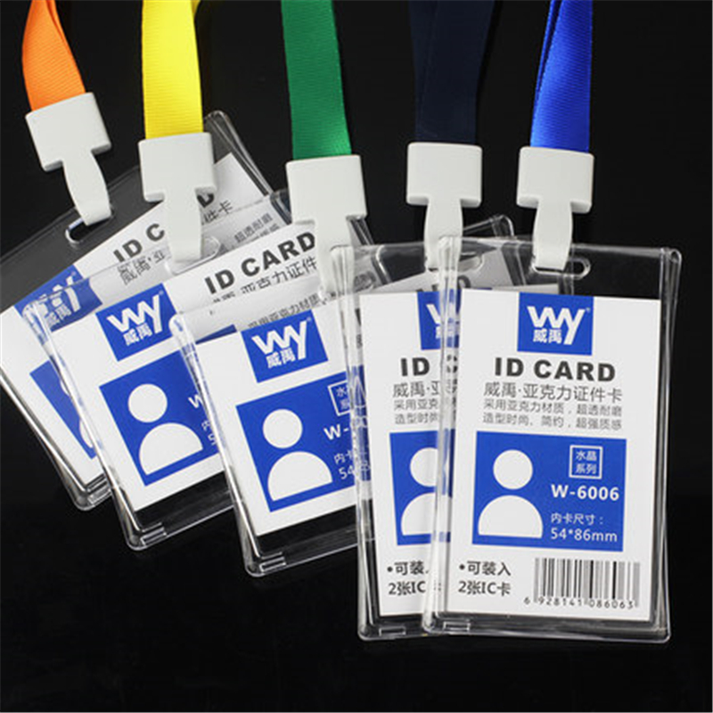 1.5 cm Wide Acrylic Bank Credit Card Holders Color Lanyard Neck Strap Card Bus ID holders Identity badge with Lanyard(China (Mainland))