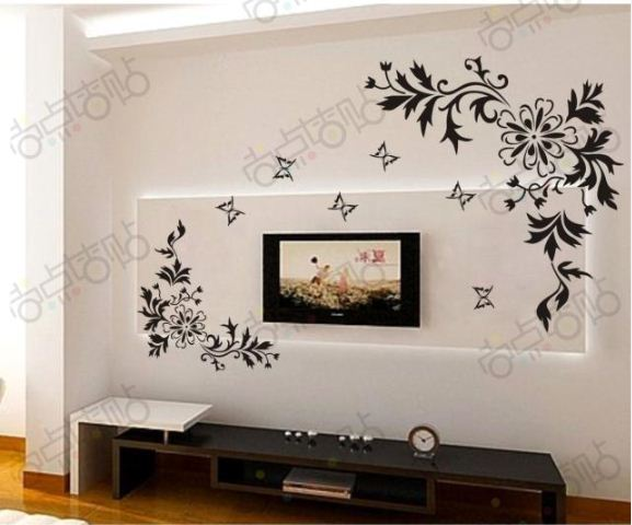 bianhua Vine Flower Butterfly Removable Wall Decals Vinyl Art DIY 3D Decoration Decals Quotes Drawing Room Decor Wall Paper