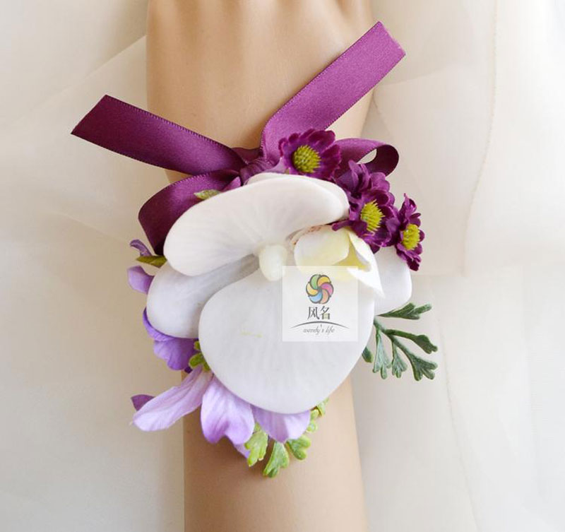 5Pcs/Lot Handmade Real Touch Moth Orchid Flower Wedding Party Prom Bridal Mother Bridesmaid Hand Wrist Flower Women Corsage(China (Mainland))