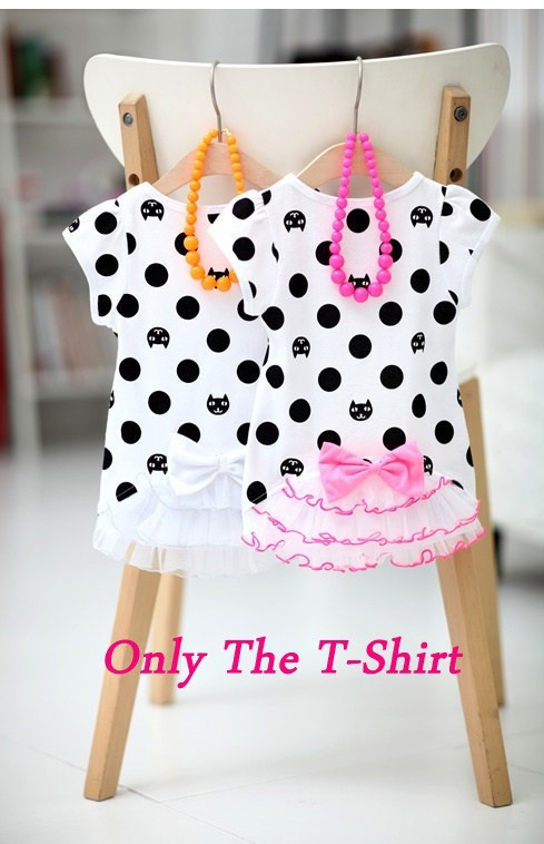 2015 children's summer clothing child short-sleeve Girl T-shirt baby kitten dot top free shipping(China (Mainland))