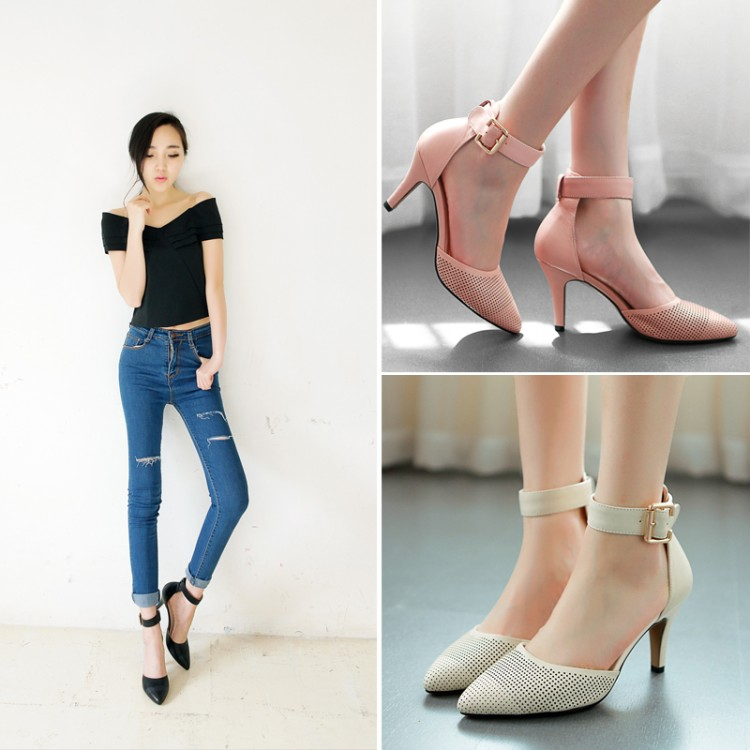 2015 summer elegant cutout sandals genuine leather breathable high-heeled shoes pointed toe strap - Can beauty can incarnate store