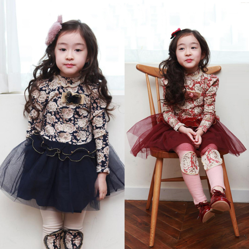 Spring autumn winter vestidos kids clothes floral gauze patchwork children girl's dress long sleeve baby girls winter dresses(China (Mainland))