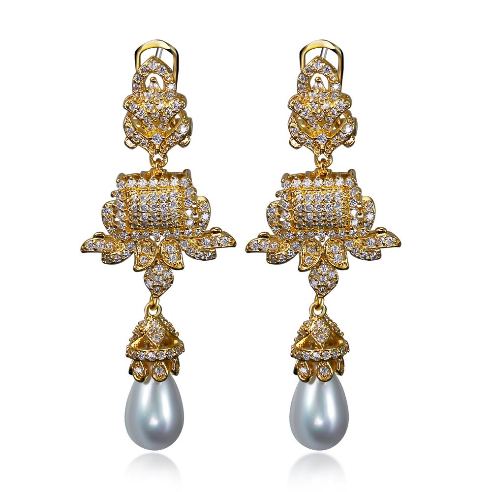 New!! 57cm Length Saudi Arabic Design Earrings! Similated Pearl Earrings! 3A Cubic Zirconia Long 18K Gold Plated Earrings(China (Mainland))