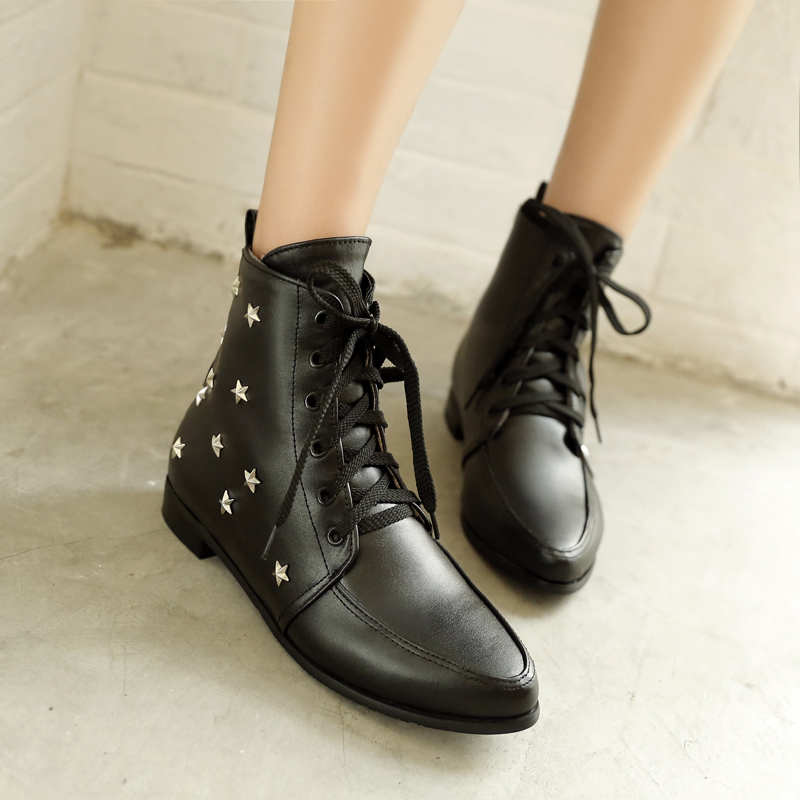 2015 New Winter Autumn Lace-Up Ankle Boots Women Rivets Square Heels Solid Colors Pointed Toe Fashion size 32-45 R1435