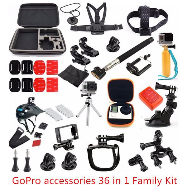 Гаджет  GoPro accessories 36 in 1 Family Kit Go Pro accessories set GoPro accessories package for GoPro HD Hero 4 3+ 3 2 Free Shipping None Бытовая электроника