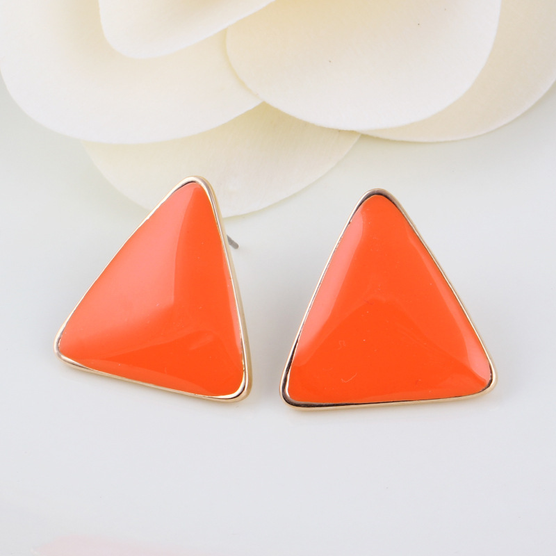 Top Quality Health Jewelry 18K Gold Plated Women's Geometry Triangle Candy Color Created Gemstone Earrings E2064(China (Mainland))