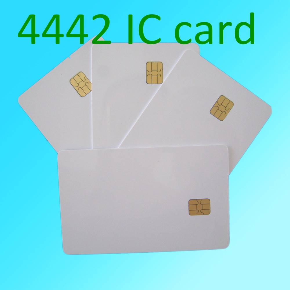50pcs ISO 7816 Blank White pvc chip CR80 Standard size SLE4442 plastic contact smart card(China (Mainland))