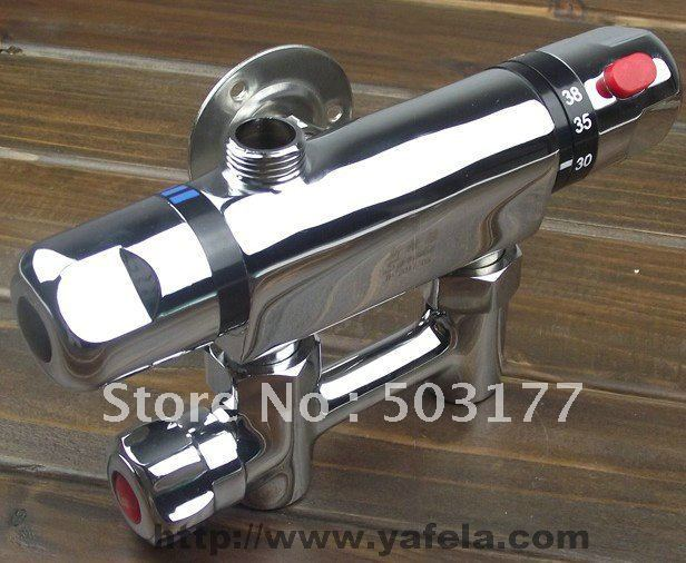Thermostatic shower head, copper, surface mounted, clear tube, solar constant temperature mixing valve,